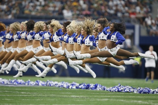 Oct 8, 2017; Arlington, TX, USA; Dallas Cowboys cheerleaders perform before the game against the Green Bay Packers at AT&T Stadium. Mandatory Credit: Tim Heitman-USA TODAY Sports