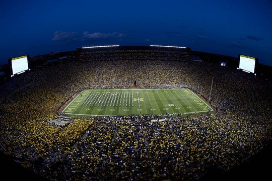 Oct 7, 2017; Ann Arbor, MI, USA; General view of the Michigan State Spartans band on the field prior to the game against the Michigan Wolverines at Michigan Stadium. Mandatory Credit: Rick Osentoski-USA TODAY Sports