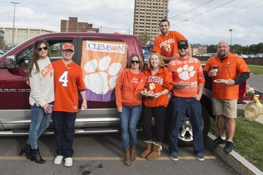 Oct 13, 2017; Syracuse, NY, USA; Clemson fans from New Jersey enjoy their tailgate outside the Carrier Dome prior to the game between the Clemson Tigers and Syracuse Orange. Mandatory Credit: Gregory J. Fisher-USA TODAY Sports