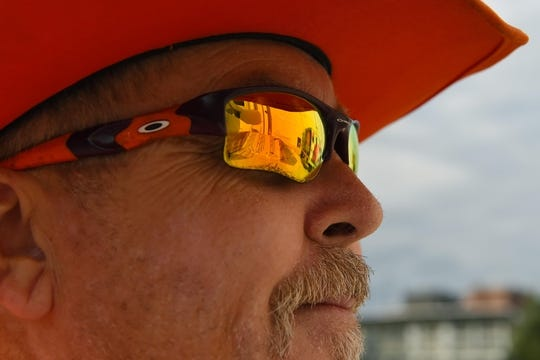 Oct 13, 2017; Syracuse, NY, USA; Clemson Tigers fan Dean Cox looks at the Carrier Dome prior to the game between the Clemson Tigers and the Syracuse Orange. Mandatory Credit: Rich Barnes-USA TODAY Sports