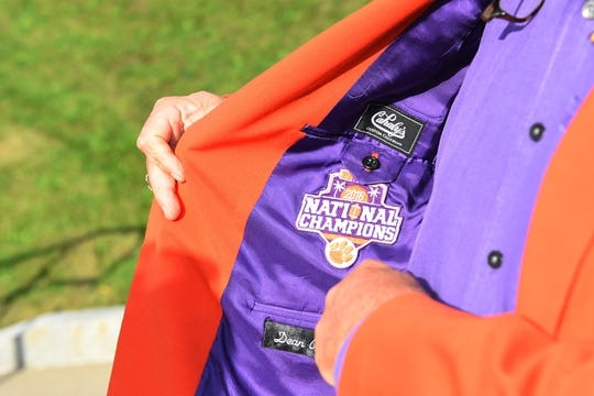 Oct 13, 2017; Syracuse, NY, USA; General view of the inside of the jacket of Clemson Tigers fan Dean Cox prior to the game against the Syracuse Orange at the Carrier Dome. Mandatory Credit: Rich Barnes-USA TODAY Sports