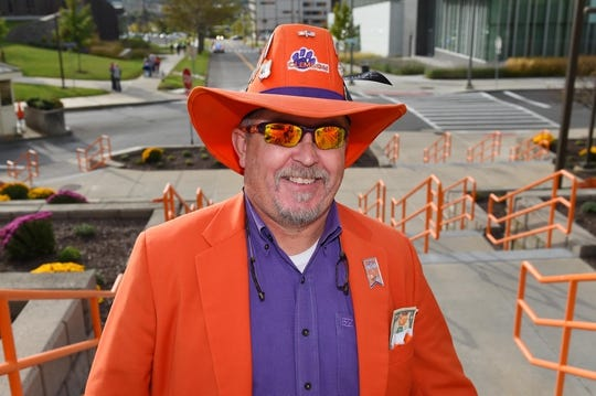 Oct 13, 2017; Syracuse, NY, USA; Clemson Tigers fan Dean Cox walks to the Carrier Dome prior to the game between the Clemson Tigers and the Syracuse Orange. Mandatory Credit: Rich Barnes-USA TODAY Sports