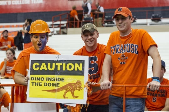 Oct 13, 2017; Syracuse, NY, USA; Fans cheer and pose for a photo prior to the game between the Clemson Tigers and the Syracuse Orange at Carrier Dome. Mandatory Credit: Gregory J. Fisher-USA TODAY Sports
