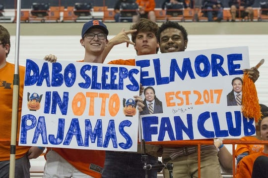 Oct 13, 2017; Syracuse, NY, USA; Fans out in support of Syracuse Orange fullback / tight end Chris Elmore  (not pictured) while posing for a photo prior to the game between the Clemson Tigers and the Syracuse Orange at Carrier Dome. Mandatory Credit: Gregory J. Fisher-USA TODAY Sports