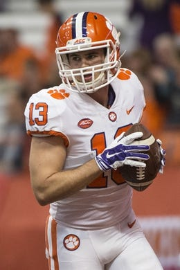 Oct 13, 2017; Syracuse, NY, USA; Clemson Tigers wide receiver Hunter Renfrow (13) warms up prior to the game against the Syracuse Orange at Carrier Dome. Mandatory Credit: Gregory J. Fisher-USA TODAY Sports
