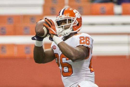 Oct 13, 2017; Syracuse, NY, USA; Clemson Tigers running back Adam Choice (26) warms up prior to the game against the Syracuse Orange at Carrier Dome. Mandatory Credit: Gregory J. Fisher-USA TODAY Sports