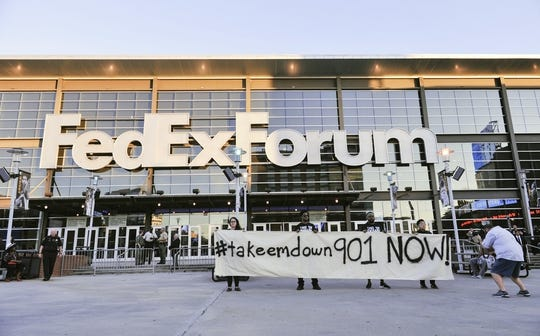 Oct 13, 2017; Memphis, TN, USA; Protestors demonstrating before the game between the Memphis Grizzlies and the New Orleans Pelicans at FedExForum. Mandatory Credit: Justin Ford-USA TODAY Sports