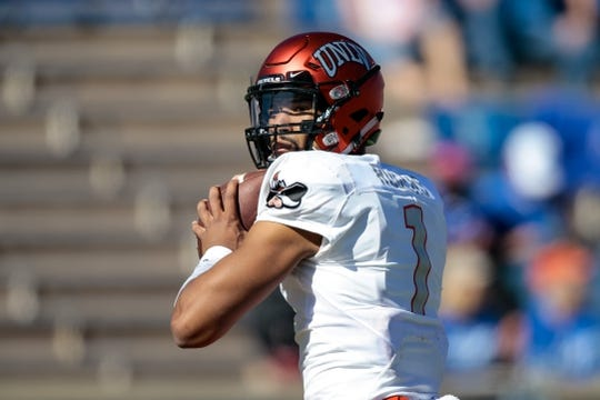 Oct 14, 2017; Colorado Springs, CO, USA; UNLV Rebels quarterback Armani Rogers (1) warms up before the game against the Air Force Falcons at Falcon Stadium. Mandatory Credit: Isaiah J. Downing-USA TODAY Sports