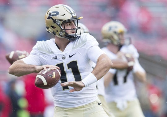 Oct 14, 2017; Madison, WI, USA; Purdue Boilermakers quarterback David Blough (11) throws a pass during warmups prior to the game against the Wisconsin Badgers at Camp Randall Stadium. Mandatory Credit: Jeff Hanisch-USA TODAY Sports