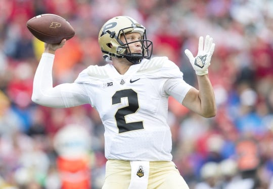 Oct 14, 2017; Madison, WI, USA; Purdue Boilermakers quarterback Elijah Sindelar (2) throws a pass during the first quarter against the Wisconsin Badgers at Camp Randall Stadium. Mandatory Credit: Jeff Hanisch-USA TODAY Sports