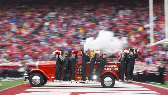 Oct 14, 2017; Madison, WI, USA; The Wisconsin Badgers Bucky Wagon drives onto the field prior to the game against the Purdue Boilermakers at Camp Randall Stadium. Mandatory Credit: Jeff Hanisch-USA TODAY Sports