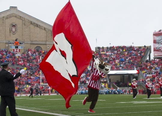 Oct 14, 2017; Madison, WI, USA; Wisconsin Badgers mascot Bucky Badger waves the Wisconsin flag prior to the game against the Purdue Boilermakers at Camp Randall Stadium. Mandatory Credit: Jeff Hanisch-USA TODAY Sports