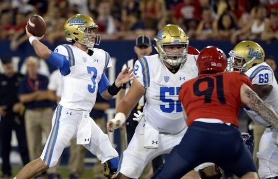 Oct 14, 2017; Tucson, AZ, USA; UCLA Bruins quarterback Josh Rosen (3) passes the ball against the Arizona Wildcats during the first half at Arizona Stadium. Mandatory Credit: Casey Sapio-USA TODAY Sports