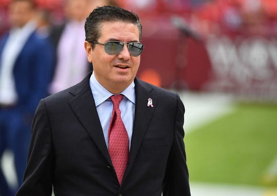 Oct 15, 2017; Landover, MD, USA; Washington Redskins owner on the field before the game between the Washington Redskins and the San Francisco 49ers at FedEx Field. Mandatory Credit: Brad Mills-USA TODAY Sports