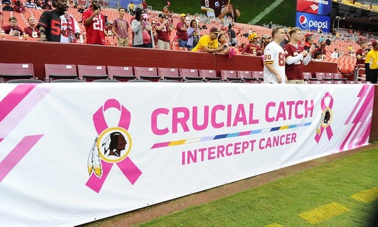 Oct 15, 2017; Landover, MD, USA; Cancer awareness banner on the field before the game between the Washington Redskins and the San Francisco 49ers at FedEx Field. Mandatory Credit: Brad Mills-USA TODAY Sports