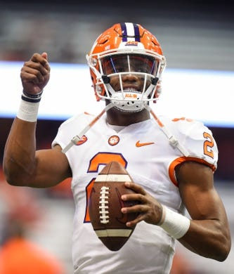Oct 13, 2017; Syracuse, NY, USA; Clemson Tigers quarterback Kelly Bryant (2) gestures while warming up prior to the game against the Syracuse Orange at the Carrier Dome. Mandatory Credit: Rich Barnes-USA TODAY Sports