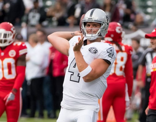 Oct 19, 2017; Oakland, CA, USA; Oakland Raiders quarterback Derek Carr (4) warms up prior to the game against the Kansas City Chiefs at Oakland Coliseum. Mandatory Credit: Kelley L Cox-USA TODAY Sports