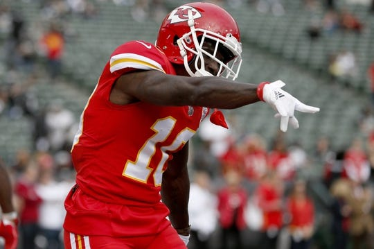 Oct 19, 2017; Oakland, CA, USA; Kansas City Chiefs wide receiver Tyreek Hill (10) reacts on the field prior to the game against the Oakland Raiders at Oakland Coliseum. Mandatory Credit: Cary Edmondson-USA TODAY Sports