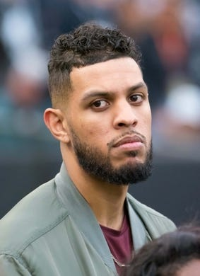 Oct 19, 2017; Oakland, CA, USA; Actor Sarunas J. Jackson looks on from the sideline prior to the game between the Oakland Raiders and the Kansas City Chiefs at Oakland Coliseum. Mandatory Credit: Kelley L Cox-USA TODAY Sports