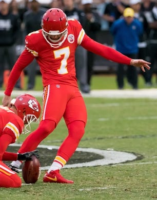 Oct 19, 2017; Oakland, CA, USA; Kansas City Chiefs kicker Harrison Butker (7) scores a field goal against the Oakland Raiders during the first quarter at Oakland Coliseum. Mandatory Credit: Kelley L Cox-USA TODAY Sports