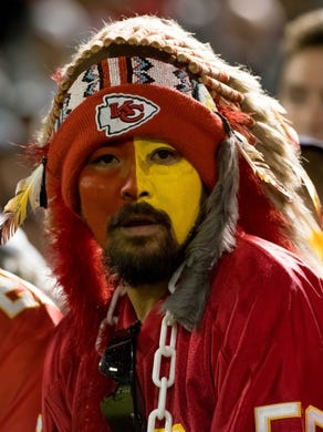 Oct 19, 2017; Oakland, CA, USA; Kansas City Chiefs fan during the second quarter against the Oakland Raiders at Oakland Coliseum. Mandatory Credit: Kelley L Cox-USA TODAY Sports