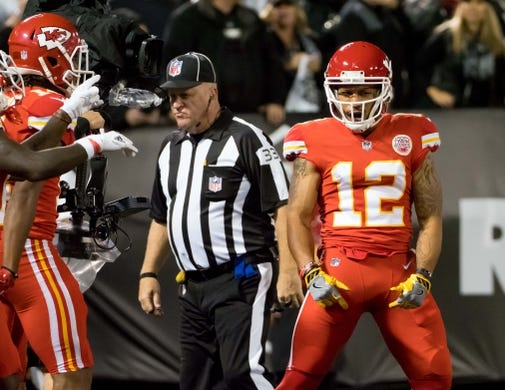 Oct 19, 2017; Oakland, CA, USA; Kansas City Chiefs wide receiver Albert Wilson (12) celebrates after a touchdown against the Oakland Raiders during the third quarter at Oakland Coliseum. Mandatory Credit: Kelley L Cox-USA TODAY Sports