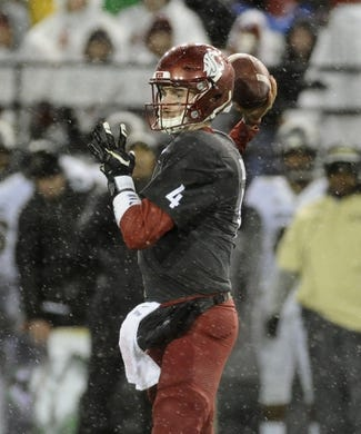 Oct 21, 2017; Pullman, WA, USA; Washington State Cougars quarterback Luke Falk (4) drops back for a pass against the Colorado Buffaloes during the first half at Martin Stadium. Mandatory Credit: James Snook-USA TODAY Sports