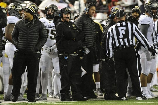 Oct 21, 2017; Pullman, WA, USA; Colorado Buffaloes head coach Mike MacIntyre looks on during the second half against the Washington State Cougars at Martin Stadium. Mandatory Credit: James Snook-USA TODAY Sports