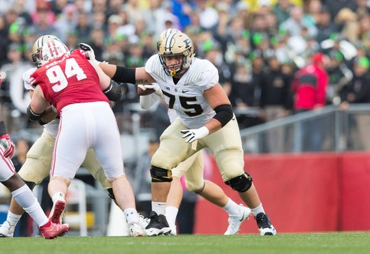 Oct 14, 2017; Madison, WI, USA; Purdue Boilermakers offensive lineman Shane Evans (75) during the game against the Wisconsin Badgers at Camp Randall Stadium. Mandatory Credit: Jeff Hanisch-USA TODAY Sports