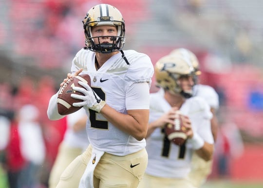 Oct 14, 2017; Madison, WI, USA; Purdue Boilermakers quarterback Elijah Sindelar (2) during warmups prior to the game against the Wisconsin Badgers at Camp Randall Stadium. Mandatory Credit: Jeff Hanisch-USA TODAY Sports