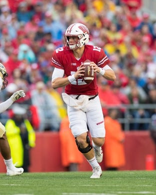 Oct 14, 2017; Madison, WI, USA; Wisconsin Badgers quarterback Alex Hornibrook (12) during the game against the Purdue Boilermakers at Camp Randall Stadium. Mandatory Credit: Jeff Hanisch-USA TODAY Sports