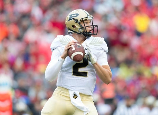 Oct 14, 2017; Madison, WI, USA; Purdue Boilermakers quarterback Elijah Sindelar (2) during the game against the Wisconsin Badgers at Camp Randall Stadium. Mandatory Credit: Jeff Hanisch-USA TODAY Sports