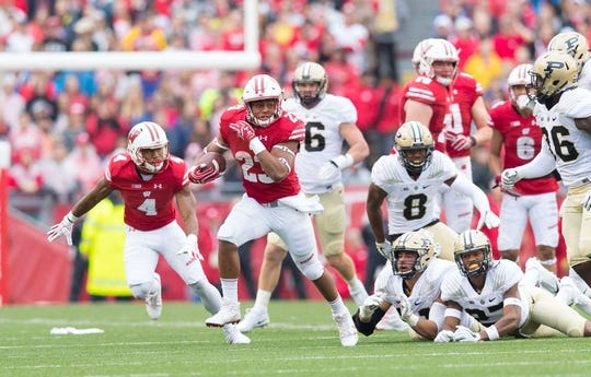 Oct 14, 2017; Madison, WI, USA; Wisconsin Badgers running back Jonathan Taylor (23) during the game against the Purdue Boilermakers at Camp Randall Stadium. Mandatory Credit: Jeff Hanisch-USA TODAY Sports