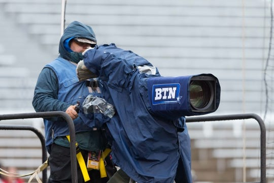 Oct 14, 2017; Madison, WI, USA; A Big Ten Network TV Camera during warmups prior to the game between the Purdue Boilermakers and Wisconsin Badgers at Camp Randall Stadium. Mandatory Credit: Jeff Hanisch-USA TODAY Sports