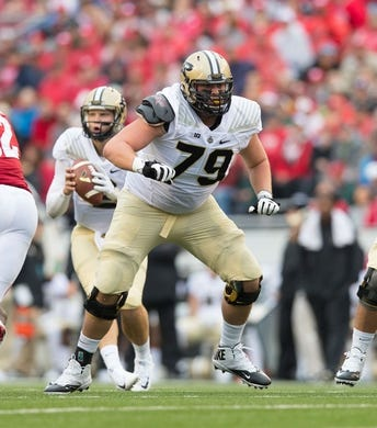 Oct 14, 2017; Madison, WI, USA; Purdue Boilermakers offensive lineman Matt McCann (79) during the game against the Wisconsin Badgers at Camp Randall Stadium. Mandatory Credit: Jeff Hanisch-USA TODAY Sports