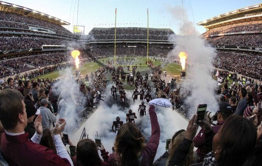 Oct 28, 2017; College Station, TX, USA; The Texas A&M Aggies take the field against the Mississippi State Bulldogs at Kyle Field. Mandatory Credit: John Glaser-USA TODAY Sports