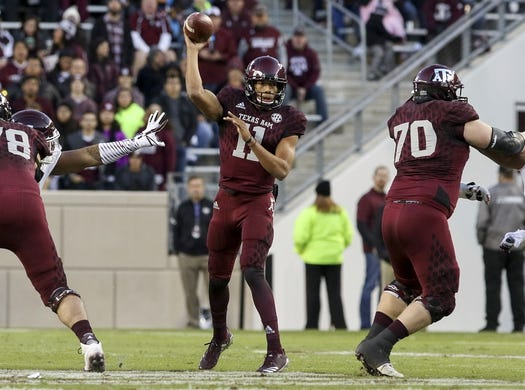 Oct 28, 2017; College Station, TX, USA; Texas A&M Aggies quarterback Kellen Mond (11) drops back to pass in the first quarter against the Mississippi State Bulldogs at Kyle Field. Mandatory Credit: John Glaser-USA TODAY Sports