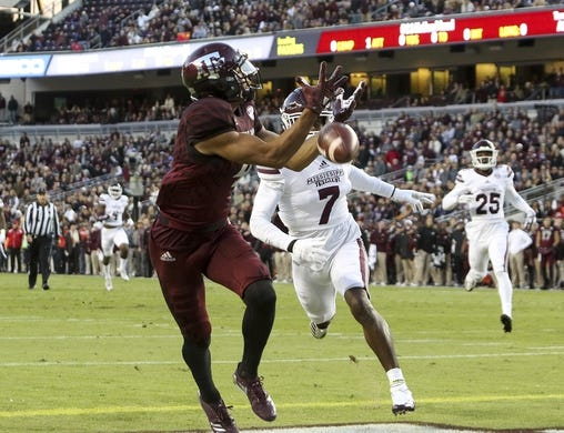 Oct 28, 2017; College Station, TX, USA; \Texas A&M Aggies wide receiver Damion Ratley (4) drops a pass in the first quarter against the Mississippi State Bulldogs at Kyle Field. Mandatory Credit: John Glaser-USA TODAY Sports