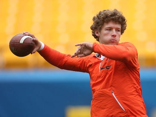 Oct 28, 2017; Pittsburgh, PA, USA;  Virginia Cavaliers quarterback Lindell Stone (36) warms up before playing the Pittsburgh Panthers at Heinz Field. PITT won 31-14. Mandatory Credit: Charles LeClaire-USA TODAY Sports