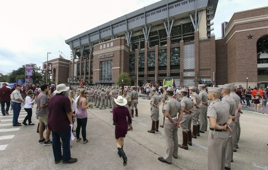 Nov 4, 2017; College Station, TX, USA; Texas A&M Aggies corps of cadets members stand in front of Kyle Field before a game between the Texas A&M Aggies and the Auburn Tigers. Mandatory Credit: Troy Taormina-USA TODAY Sports