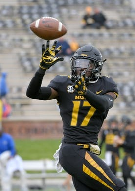 Nov 4, 2017; Columbia, MO, USA; Missouri Tigers wide receiver Richaud Floyd (17) warms up before the game against the Florida Gators at Faurot Field. Mandatory Credit: Denny Medley-USA TODAY Sports