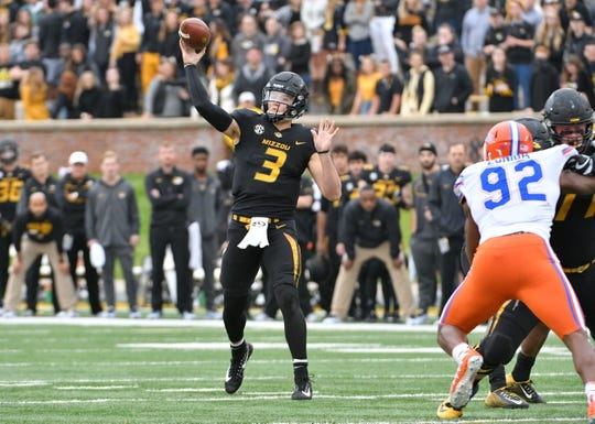 Nov 4, 2017; Columbia, MO, USA; Missouri Tigers quarterback Drew Lock (3) throws a pass during the first half against the Florida Gators at Faurot Field. Mandatory Credit: Denny Medley-USA TODAY Sports
