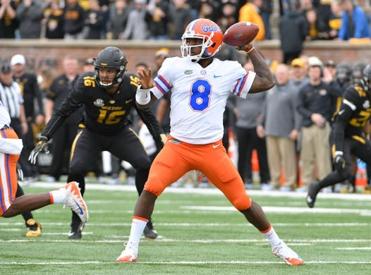 Nov 4, 2017; Columbia, MO, USA; Florida Gators quarterback Malik Zaire (8) throws a pass during the first half against the Missouri Tigers at Faurot Field. Mandatory Credit: Denny Medley-USA TODAY Sports