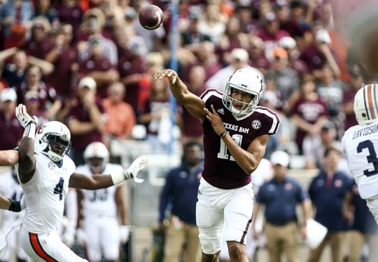 Nov 4, 2017; College Station, TX, USA; Texas A&M Aggies quarterback Kellen Mond (11) throws the ball during the first quarter against the Auburn Tigers at Kyle Field. Mandatory Credit: Troy Taormina-USA TODAY Sports