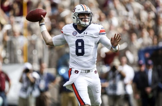 Nov 4, 2017; College Station, TX, USA; Auburn Tigers quarterback Jarrett Stidham (8) throws the ball during the first quarter against the Texas A&M Aggies at Kyle Field. Mandatory Credit: Troy Taormina-USA TODAY Sports