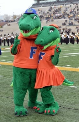 Nov 4, 2017; Columbia, MO, USA; The Florida Gators mascots Albert and Alberta pose for a photo before the game against the Missouri Tigers at Faurot Field. Mandatory Credit: Denny Medley-USA TODAY Sports