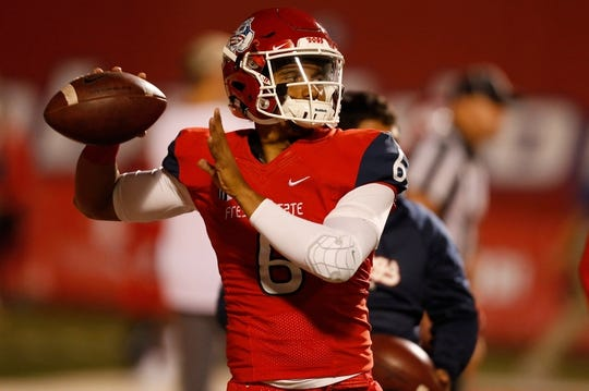 Nov 4, 2017; Fresno, CA, USA; Fresno State Bulldogs quarterback Marcus McMaryion (6) warms up before the start of the game against the Brigham Young Cougars at Bulldog Stadium. Mandatory Credit: Kiel Maddox-USA TODAY Sports