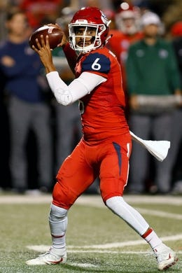 Nov 4, 2017; Fresno, CA, USA; Fresno State Bulldogs quarterback Marcus McMaryion (6) throws a pass in the first quarter against the Brigham Young Cougars at Bulldog Stadium. Mandatory Credit: Kiel Maddox-USA TODAY Sports