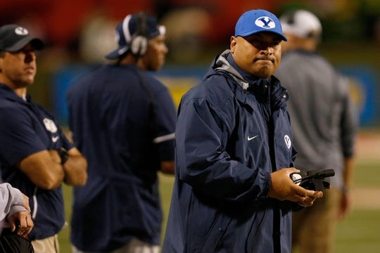 Nov 4, 2017; Fresno, CA, USA; Brigham Young Cougars head coach Kalani Sitake reacts to an incompletion during the second quarter against the Fresno State Bulldogs at Bulldog Stadium. Mandatory Credit: Kiel Maddox-USA TODAY Sports