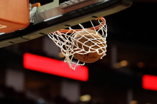 Nov 11, 2017; Houston, TX, USA;  A basketball splashes through the hoop prior to the game between the Houston Rockets and the Memphis Grizzlies at Toyota Center. Mandatory Credit: Erik Williams-USA TODAY Sports